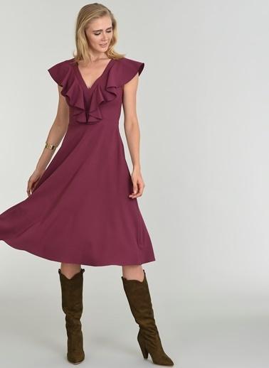 People By Fabrika Volan Detaylı Elbise Mürdüm